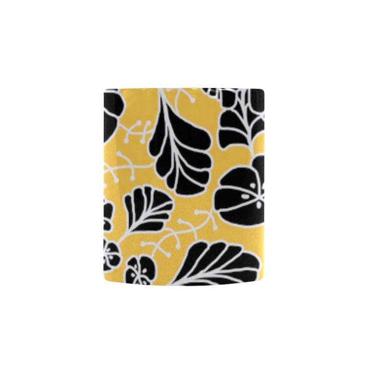 CVDr0098 Yellow White Black Tangle Flowers Custom Morphing Mug