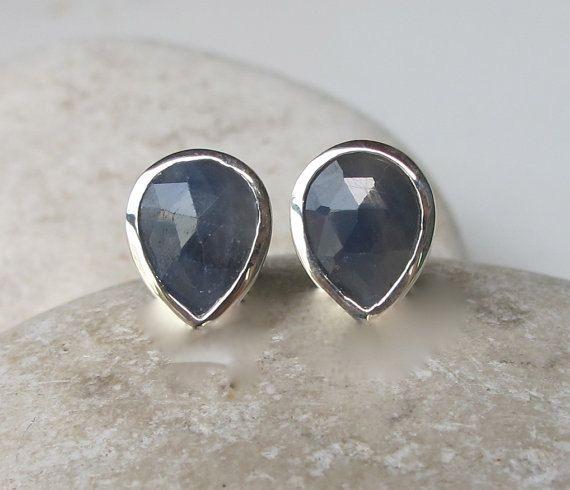 Sapphire Stud Pear Shaped Sapphire Earring Brown by Belesas