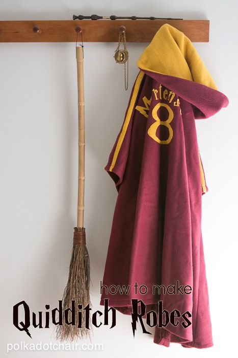 How to make your own Harry Potter Quidditch Robes on polkadotchair.com...The costumes are made by making simple modifications to a basic robe pattern. I'm sure you can find a free tutorial online for a robe pattern if you don't want to buy one, but since you can usually get sewing patterns on sale for as little as .99 I think it's worthwhile to buy one. Simplicity 9877 is great for adults and  Simplicity 3998 will work for kids.