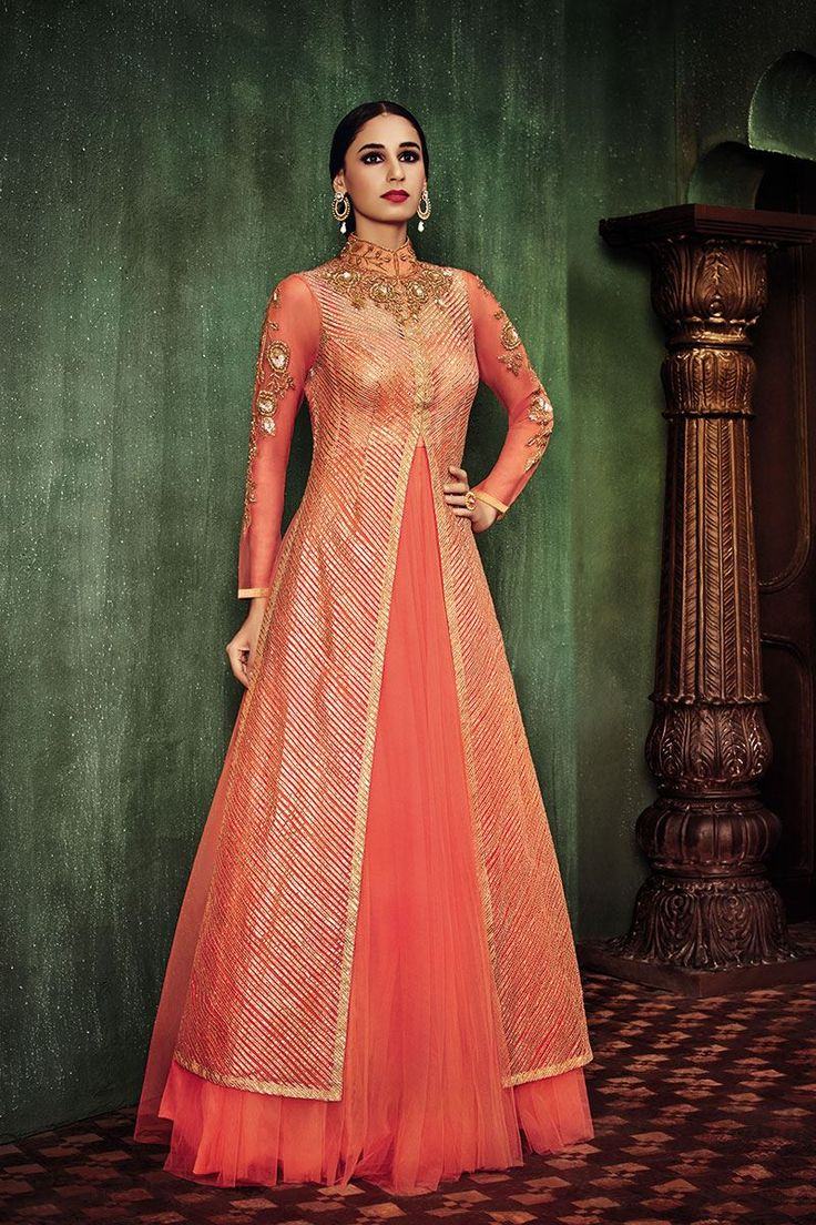 Show details for Jacket style classy anarkali in orange