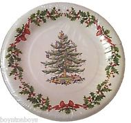 Spode Christmas Tree Garland Coated Paper Plates - Dinner 10.5  Set ...  sc 1 st  Pinterest : christmas paper plate sets - pezcame.com