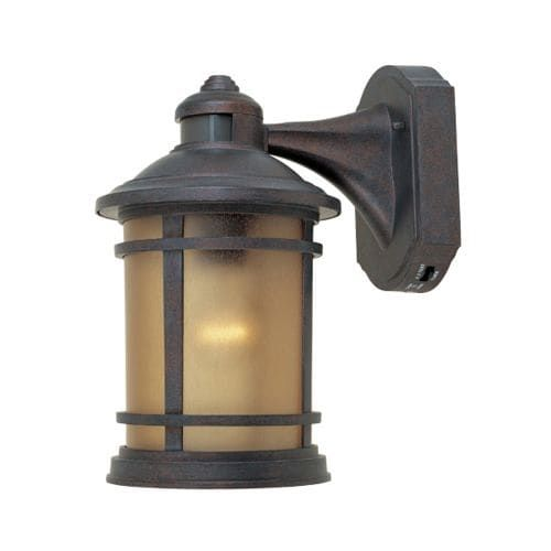 Designers Fountain 2371MD-MP 1 Light 7 Cast Aluminum Wall Lantern with Motion Detector and Photocell Modes, Mediterranean Patina W/Sunlit Cpr