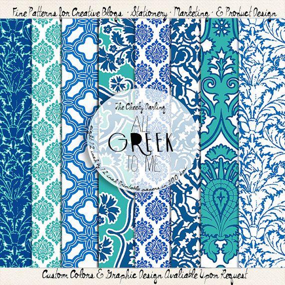 All Greek to Me - Blue, Teal, & White Printable Digital Pattern Paper