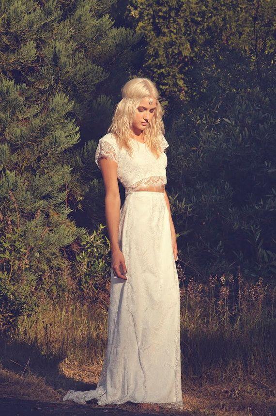Ivory Lace Bohemian Bridal Gown Maxi Dress Crop Top Long