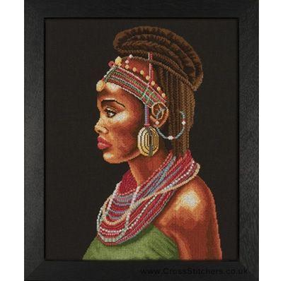 0 point de croix femme africaine et bijoux  - cross stitch african woman and jewels