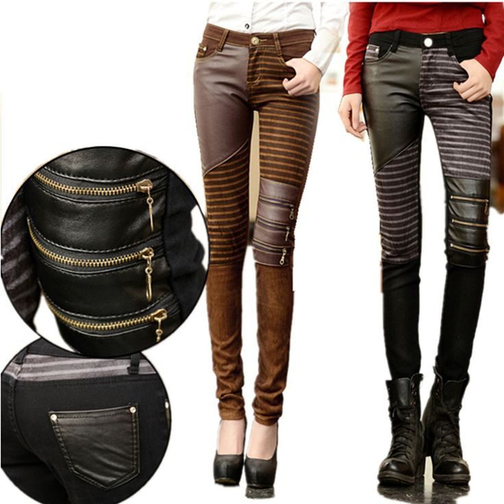 Cheap leren broeken, Buy Quality leather pants women directly from China pants women Suppliers: Faux Leather Pants Women Elastic Zipper Stitching Leather Striped Pants Trousers Plus Size 2017 Leren Broeken