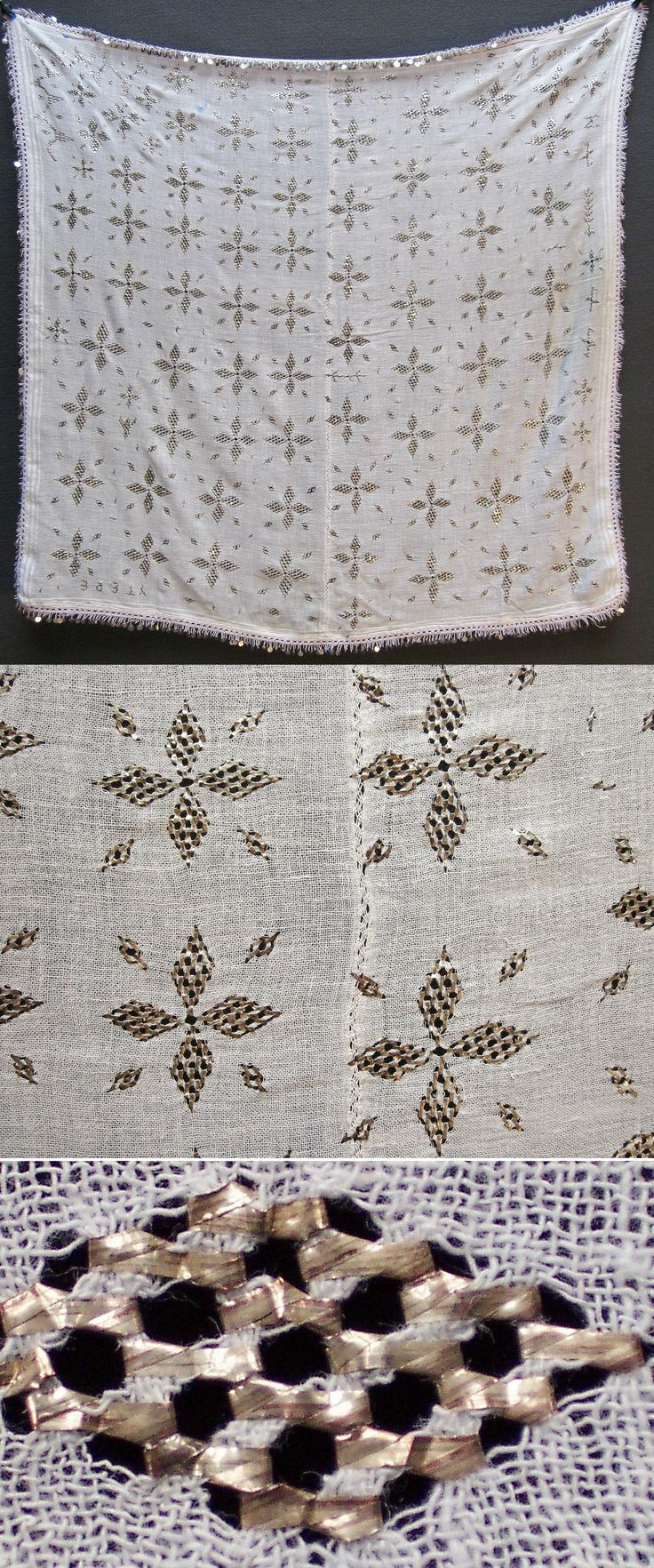 A large traditional 'yemeni' or 'yazma' (woman's head scarf) from the district of Mengen (province of Bolu).  Also called 'örtme' or 'pô'.  Rural, mid-20th century.  'Two-sided' embroidery (identical on both sides of the fabric) in 'telkırma technique' (motives obtained by sticking narrow metallic strips through the fabric and folding them.).   (Inv.nr. yaz003 - Kavak Costume Collection-Antwerpen/Belgium).