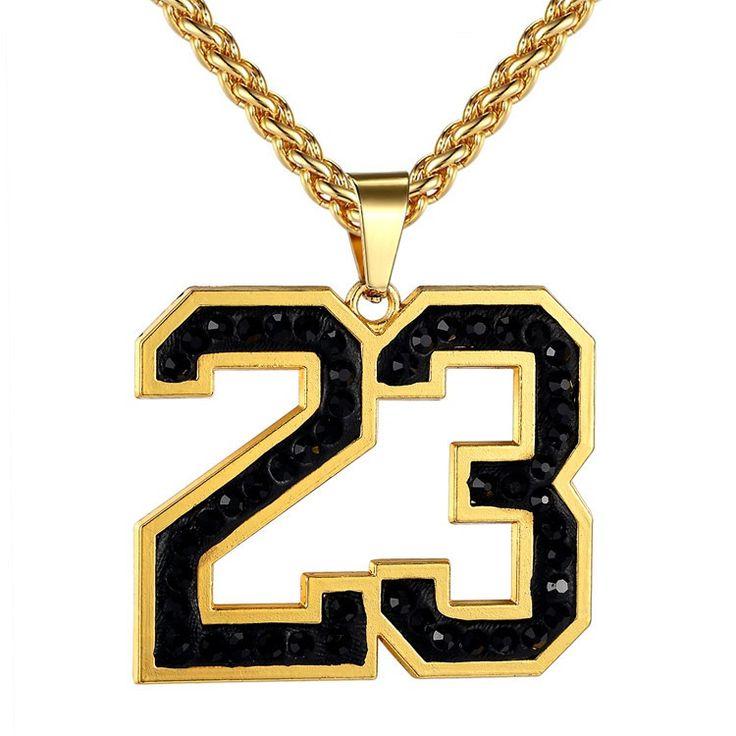 Jordan Number 23 Pendants Gold Necklace