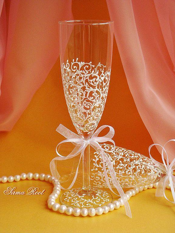 Купить Свадебные Бокалы Абигаль - белый, свадебные бокалы, бокалы для битья, Бокалы, свадьба