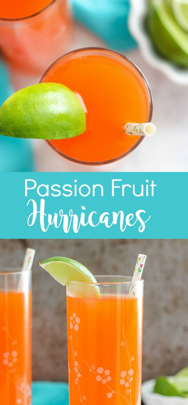 Passion Fruit Hurricanes are a refreshing tropical cocktail recipe made with fruit juices and rum. Perfect for sipping on warm days.