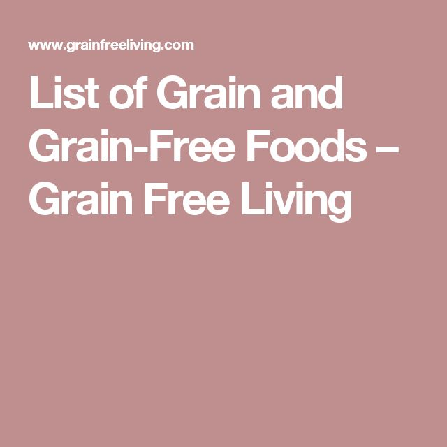 List of Grain and Grain-Free Foods – Grain Free Living