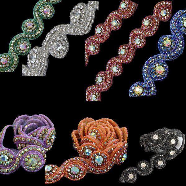 1 Yd DIY Rhinestone Trim Crystal Chain Beaded Applique Sew/Iron on Bridal Dress...