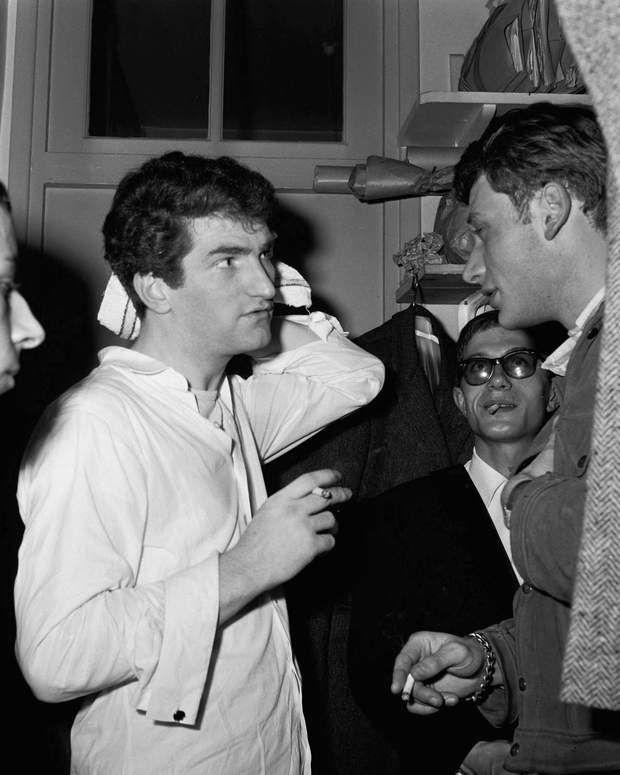 Eddy Mitchell après son concert au Golf Drouot, avec Johnny Hallyday et Jacques DutroncàParis,le 5 novembre 1964