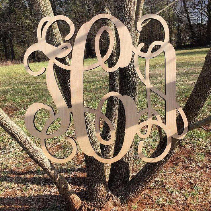 Wooden Monogram - Unpainted Wood Monogram Wall Hanging - Monogram Door Hanger - Wedding Monogram - Nursery Monogram - Wooden Initials * by PersonalizedMonogram on Etsy https://www.etsy.com/listing/495071305/wooden-monogram-unpainted-wood-monogram