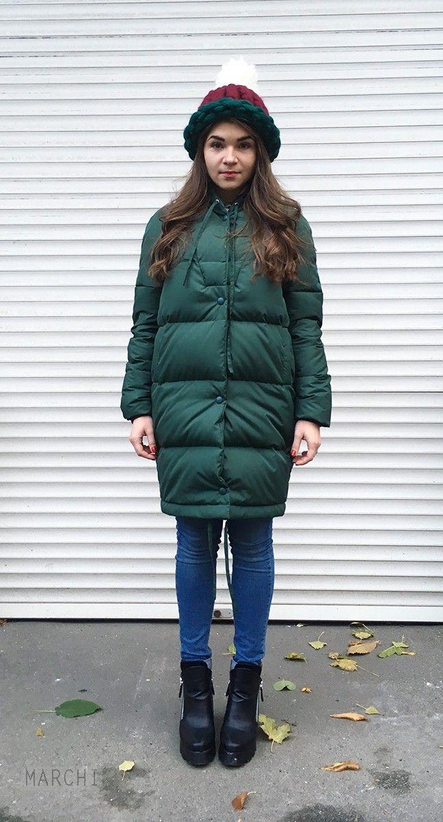 ПУХОВИК ЖЕНСКИЙ «Единорог» зеленый