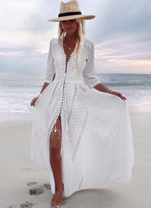 Dress – $65.99 – Solid V-Neckline 3/4 Sleeves Maxi A-line Dress (1955268746)