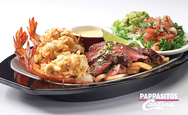 Pappasito's Cantina - Filet Mignon Fajitas with Crab Cake Stuffed Shrimp
