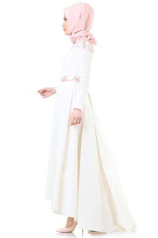 Kayra Pul işlemeli Abiye Elbise B5 23073 Ekru - Pudra