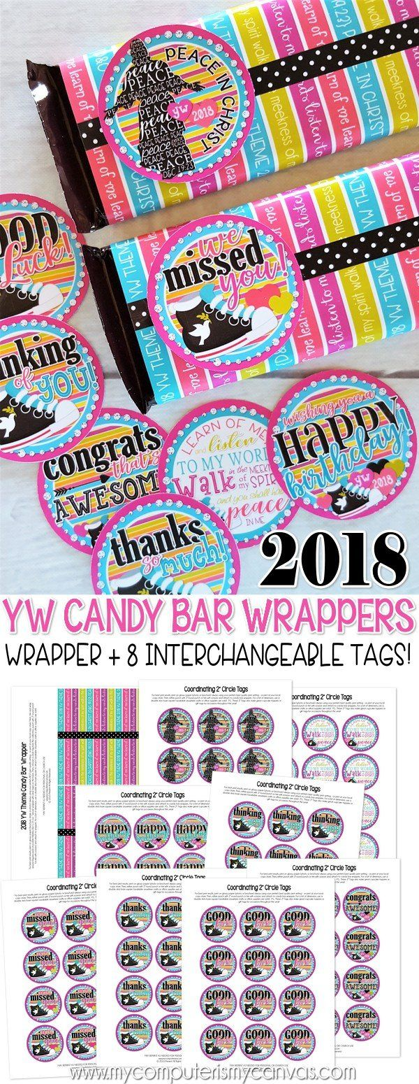 2018 YW theme printables, gift ideas, birthday gift tag, candy bar wrapper, peace in Christ #mycomputerismycanvas