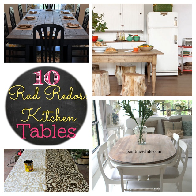 What are you doing with your old table?! from GARDNERS 2 BERGERS: ➹10 Rad Redos: Kitchen Table Makeovers➷