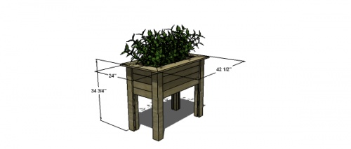 FREE woodworking plans to build a raised planter table.