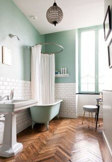 Mint green bathroom and herringbone floor, LOVE!