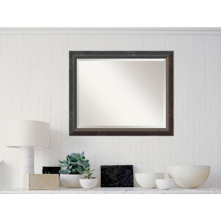 Paragon Dark Silver Wood 32 in. W x 26 in. H Traditional Framed Mirror
