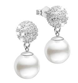 Zilveren oorbellen bol met zirkonia met parel