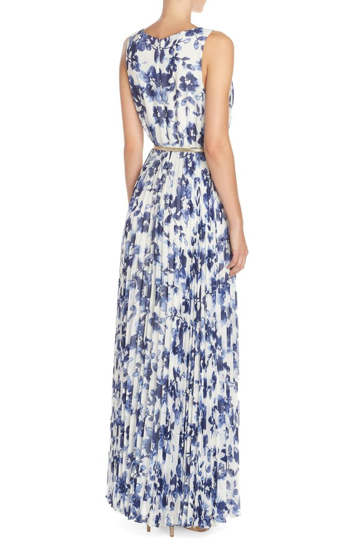 Eliza J Floral Pleat Chiffon Maxi Dress
