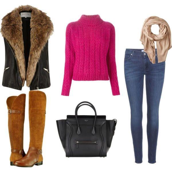 ярко-розовый свитер, синие джинсы, черный жилет с меховой отделкой и шарф