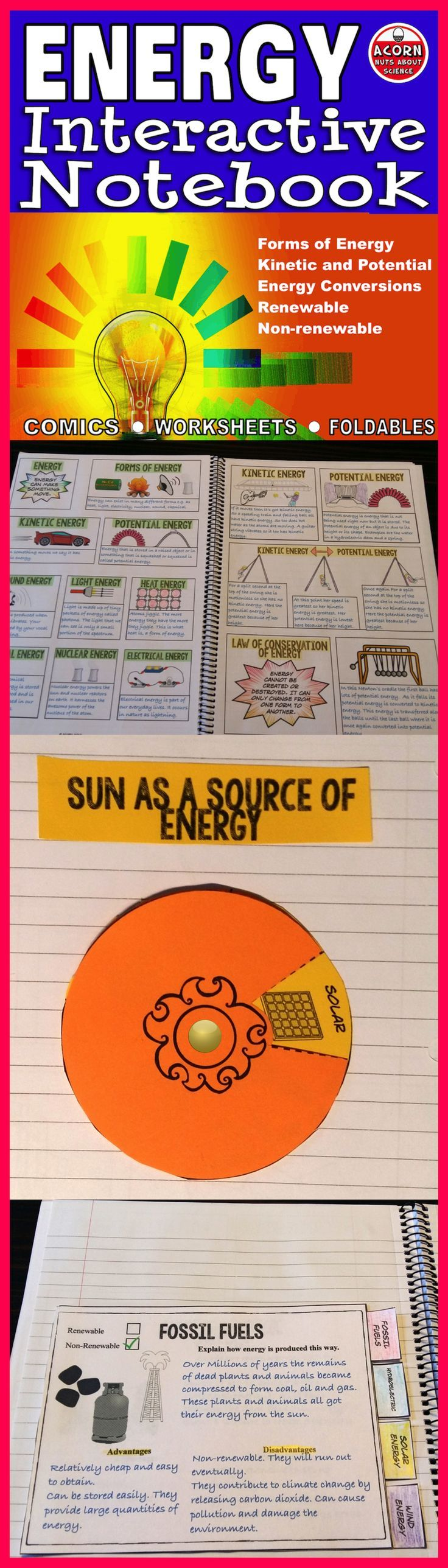 This differentiated energy interactive notebook covers forms of energy, energy conversion, kinetic and potential energy, renewable and non-renewable energy sources and much more. A powerpoint accompanies this. This INB is 34 pages with a 13 slide powerpoint.