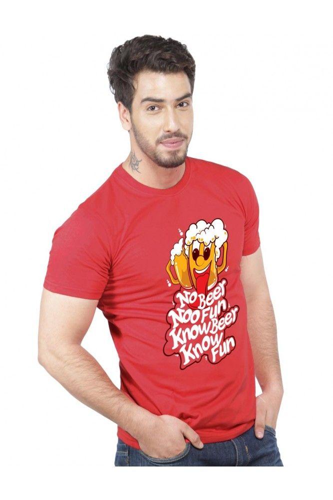 Buy Red Beer Studio Red No Beer No Fun Printed T Shirt for Men Online India| TrendyBharat.com