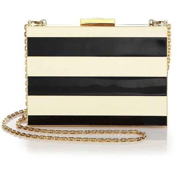 Valentino Minaudiere Striped Clutch ($3,205) ❤ liked on Polyvore featuring bags, handbags, clutches, apparel & accessories, black purse, clasp purse, chain handle handbags and striped purse