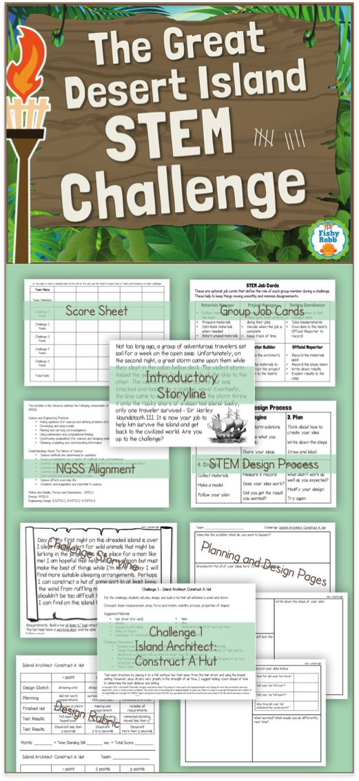 The Great Desert Island STEM Challenge - Save the shipwrecked traveler by completing 5 different STEM activities. A great way to starting STEM in your classroom!