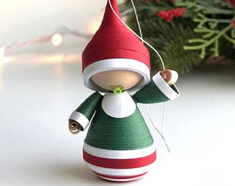 Baby's First Christmas ornament paper figurine, baby ornament, gift for new parents, gift for new baby, paper quilling art