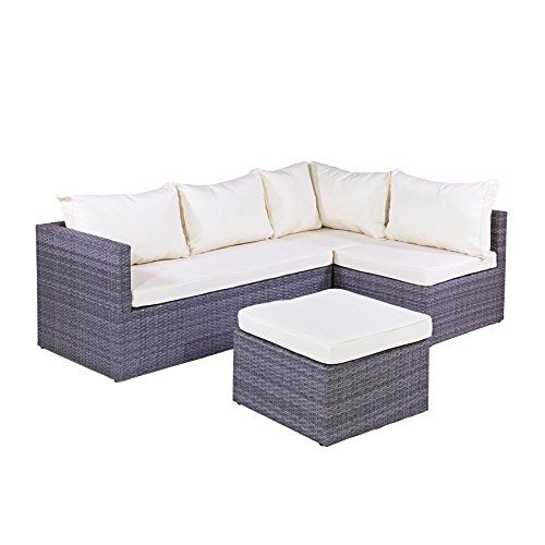 Spectacular MMT Rattan Grey Garden Furniture L Shaped Corner Sofa