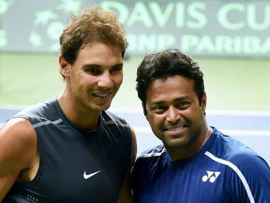 Rafael Nadal (left) with Leander Paes during a practice session in New Delhi…