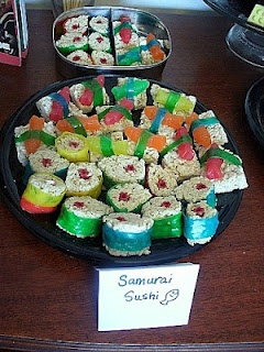 "Ignore samurai thing, cute ""sushi"" so Amy could have it at shower?"