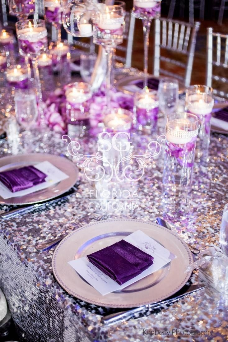 Payette Sequin Tablecloths With Plum Napkins Are Total Glamour Silver Wedding DecorationsSequin