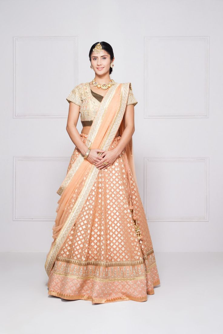 This gorgeous Anita Dongre peach bridal lehenga is for just 15k rent. Check out more bridal options on #Frugal2Fab