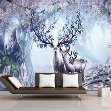 Europese tv achtergrond behang mural scandinavische 3d elanden achtergrond muur woonkamer slaapkamer behang mural(China (Mainland))