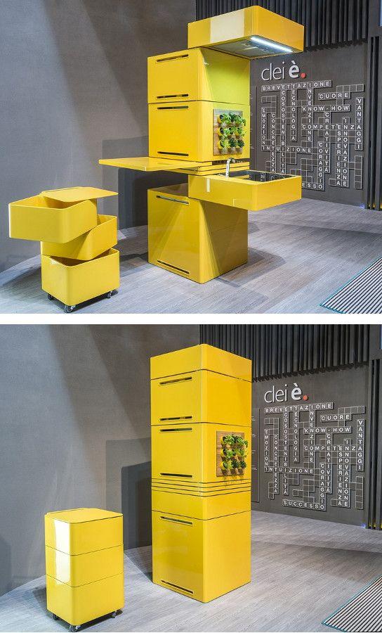 Mini #kitchen - concept ECOOKING by CLEI | #design Massimo Facchinetti #yellow