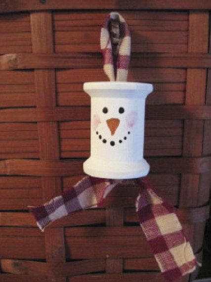 Hand Painted Old Wooden Thread Spool Snowman by chickenhearts