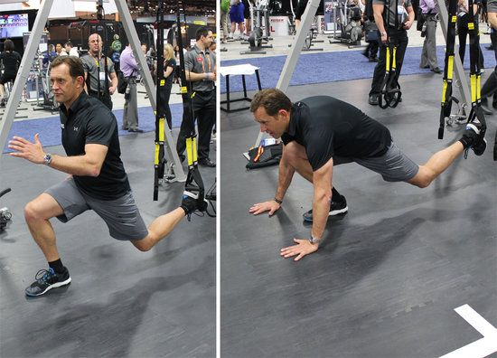 """TRX Burpee: The TRX burpee is what Randy calls his """"desert-island move""""; it's a dynamic total-body move that is done quickly for"""