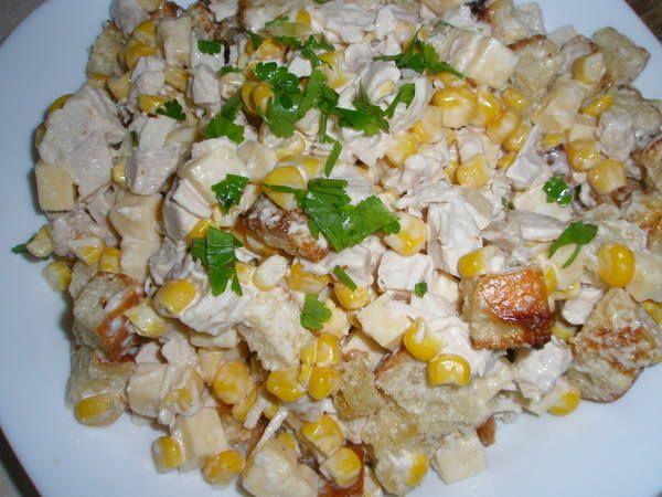 Салат из курицы с сухариками | Рецепты салатов