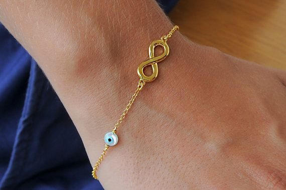 Silver evil eye  Gold infinity 925 sterling silver by Wavejewels