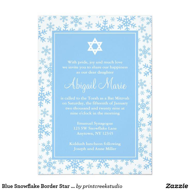 Blue Snowflake Border Star of David Bat Mitzvah Card