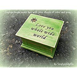 Custom engraved wooden music box with Love you whole wide world and a sun engraved on top, great gift for Mothers day or graduation.