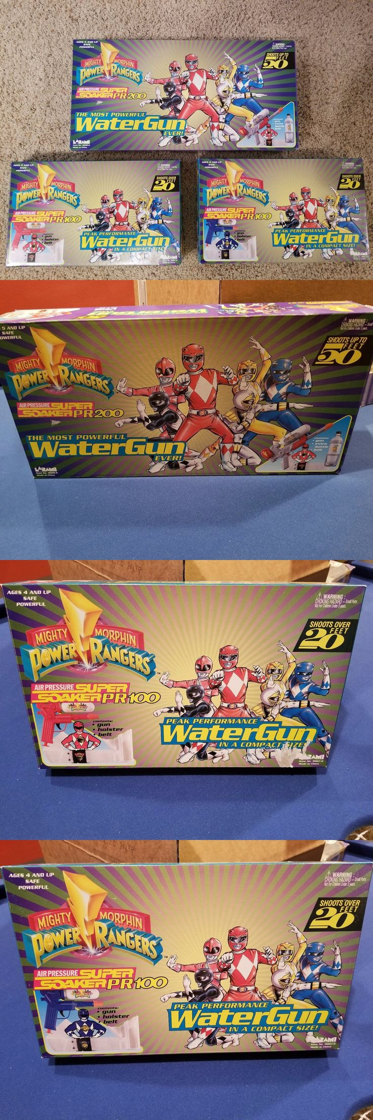 Squirt Toys 145991: 3 Brand New Vintage Power Ranger Super Soakers! Red Pr100, Blue Pr100, Red Pr200 -> BUY IT NOW ONLY: $135 on eBay!