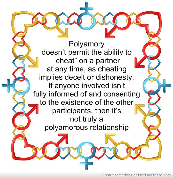 """""""Polyamory doesn't permit the ability to """"cheat"""" on a partner at any time, as cheating implies deceit or dishonesty. If anyone involved isn't fully informed of and consenting to the existence of the other participants, then it's not truly a polyamorous relationship."""" — Consensual, ethical, and responsible - polyamory"""